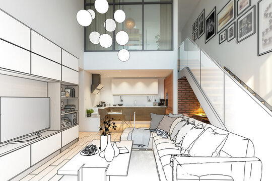 Modern Mansarde Apartment with Stairs (draft) - 3d visualization