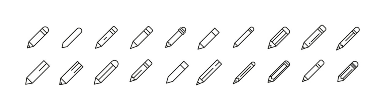 Set of simple pencil line icons.