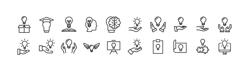 Vector set of idea thin line icons.
