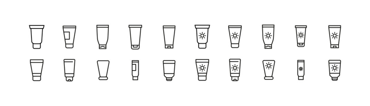 Set of sunscreen line icons.
