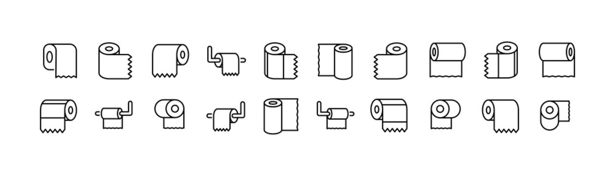 Editable vector pack of toilet paper line icons.