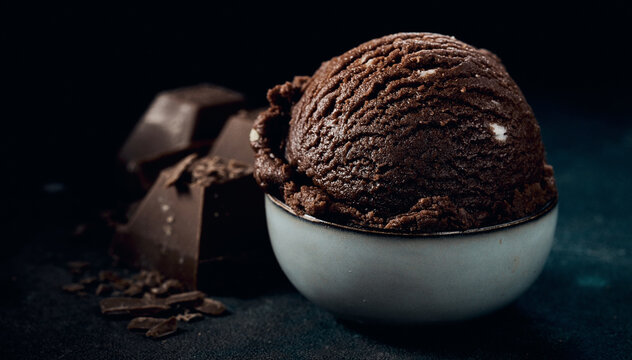 Delicious chocolate ice cream ball in bowl