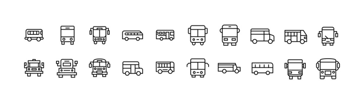 Editable vector pack of school bus line icons.
