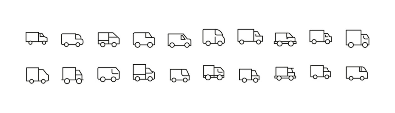 Vector set of truck thin line icons.