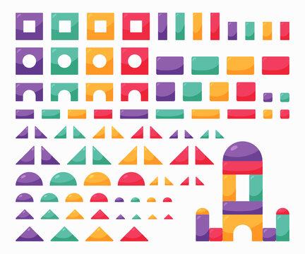 Set wooden color cubes toy. Building blocks for kids.Children constructor.