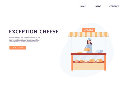 Webpage for creamery with showcase full of cheese flat vector illustration.