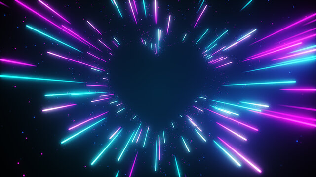 Flying in a blue pink futuristic neon heart-shaped tunnel. Abstract corridor with fast moving light lines. 3d illustration
