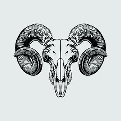 illustration of a goat skull head