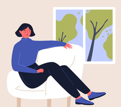 Woman sitting in chair at home, looking at window. Stay home illustration. Flat vector character design.