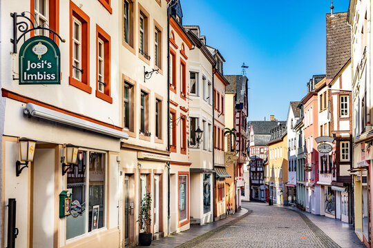 Half-timbered houses at the central shopping mile in Bernkastel-Kues, due to Corona without people