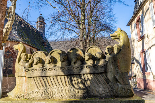 stone statue of  the ship of a wine merchant with barrels in Neumagen Dhron from roman times