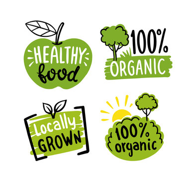 Organic labels. Fresh eco vegetarian emblems, vegan label and healthy foods logo. Sticker or ecological product stamp.
