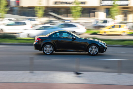 Ukraine, Kyiv - 11 November 2020: Black Mercedes SLC-Class car moving on the street