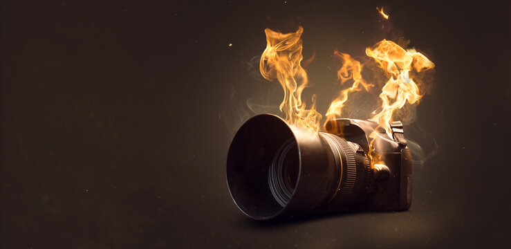 Camera on fire with actual flames