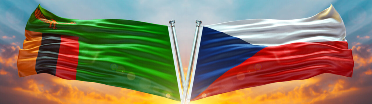 Zambia Flag and Czech Republic Flag waving with texture Blue sky could and sunset Double flag
