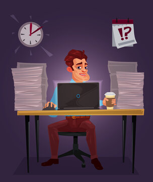 Vector illustration of a man working on the laptop