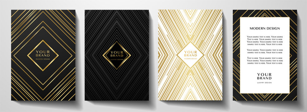 Modern black cover, frame design set. Luxury creative line pattern in premium colors: black, gold and white. Formal vector layout useful for notebook cover, business poster, brochure template