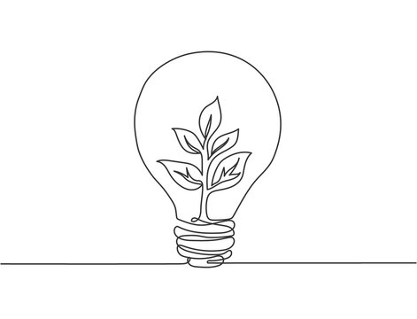 Single continuous line drawing of lightbulb with green natural leaf for company logo label. Green power innovation logotype symbol template concept. Dynamic one line draw graphic vector illustration