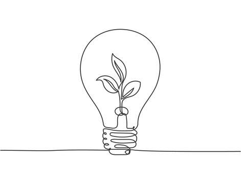 One continuous line drawing of clean lightbulb with green leaf organic plant inside icon logo emblem. Ecology safe symbol logotype template concept. Modern single line draw design graphic illustration