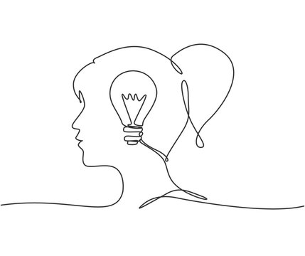 One single line drawing of human woman head with lightbulb inside for company logo identity. Innovation creativity process icon concept. Trendy continuous line draw design vector illustration