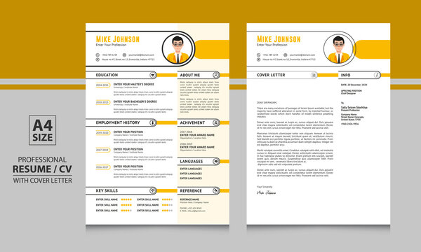 Mike Johnson yellow color creative resume format cv template with cover letter for job