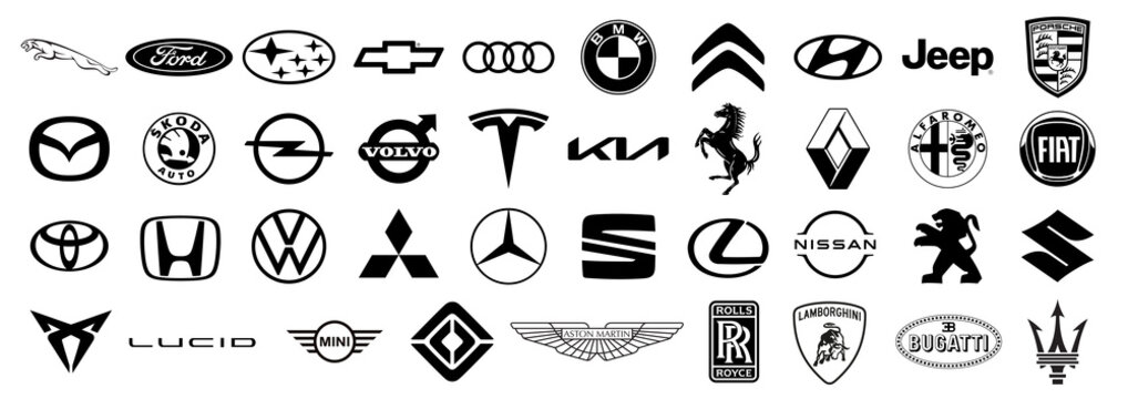 Logo of cars brand. Set of popular brands of car. Black automobile emblems at white background. Automotive industry leaders. Vector