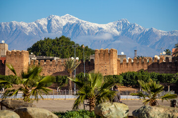 Taroudant city, Morocco, wide landscape with towers and mountains view