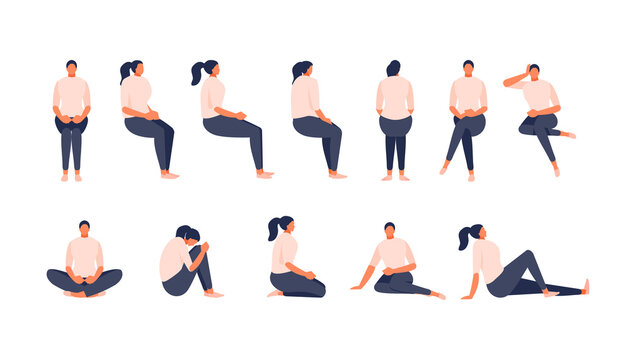 Sitting girl in various positions. Front, side, rear view, isometric view. Rotation and animation. Vector illustration