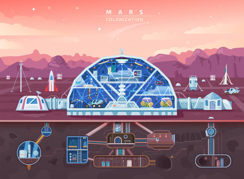 Mars colonization, space planet colony background, vector future life. Mars colonization mission and galaxy civilization base in galaxy universe, astronauts city landscape, spaceships and architecture