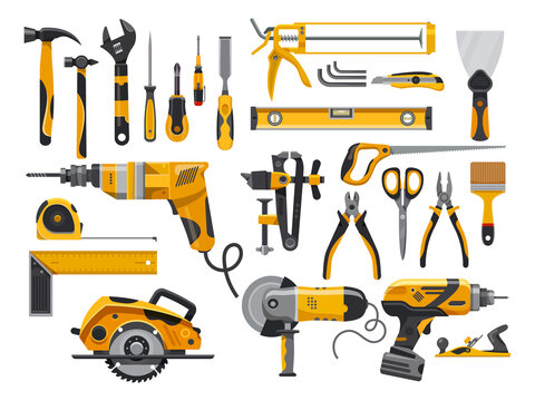 Work tools, construction instruments for repair, woodworking and renovation, vector flat isolated yellow set. Home remodeling, carpentry and masonry building tools, electric drill, screwdriver and saw