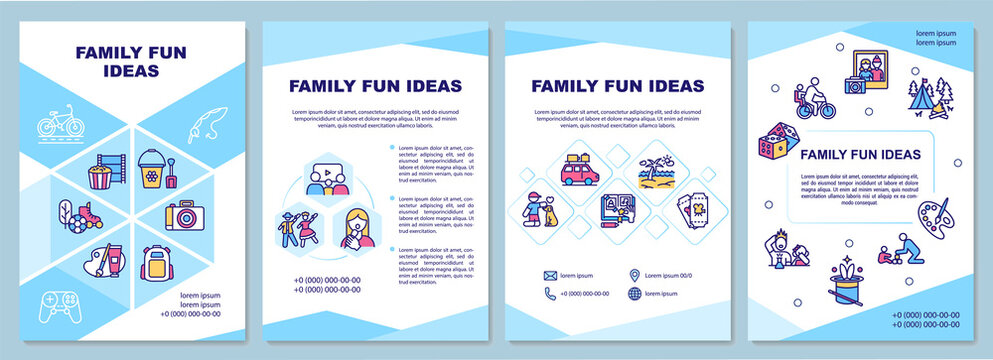 Family fun ideas brochure template. Spending time together. Flyer, booklet, leaflet print, cover design with linear icons. Vector layouts for magazines, annual reports, advertising posters