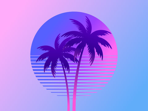 Two palm trees on a sunset 80s retro sci-fi style. Summer time. Futuristic sun retro wave. Design for advertising brochures, banners, posters, travel agencies. Vector illustration