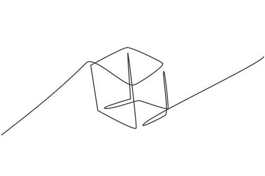 Single one line drawing of cube geometry shape. Back to school minimalist, education concept. Continuous simple line draw style design graphic vector illustration