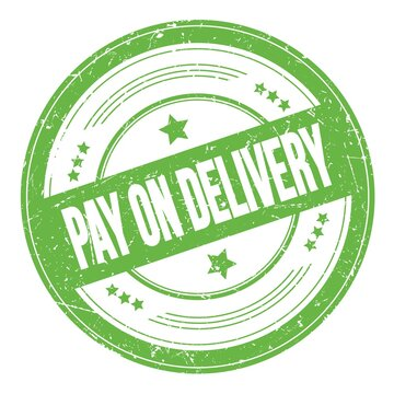 PAY ON DELIVERY text on green round grungy stamp.