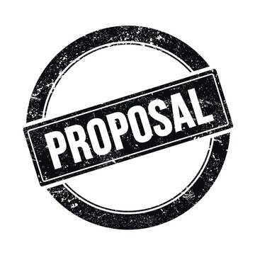PROPOSAL text on black grungy round stamp.