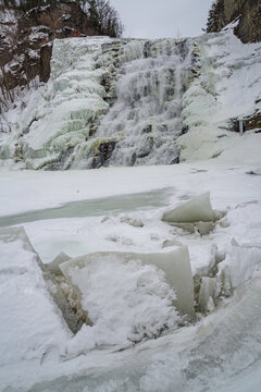Ithaca Falls view during winter.  New York. USA