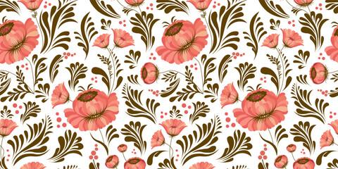 seamless pattern in folk style. Ukrainian ornament. Petrikovskaya painting. Ukrainian folk art. Fabric design. Floral print. Abstract flowers. Pink color