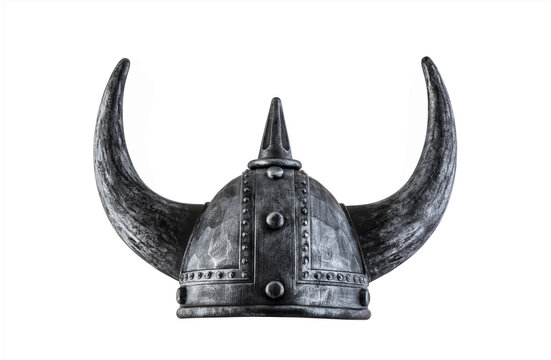 Viking horned helmet isolated on white background with clipping path