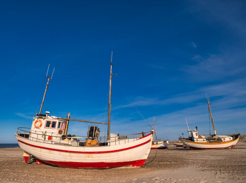 Slettestrand cutter fishing vessel for traditional fishery at the North Sea coast in Denmark