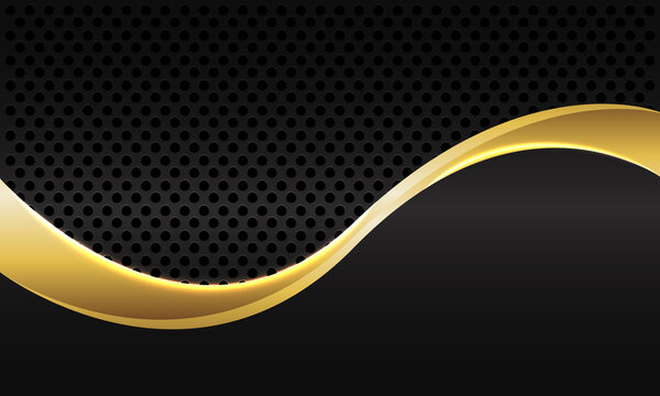 Abstract gold line curve on dark grey metallic circle mesh design modern luxury futuristic background vector illustration.