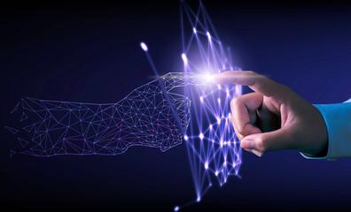 Fototapeta Hand touching modern interface digital transformation concept. Connection next generation technology and new era of innovation. obraz