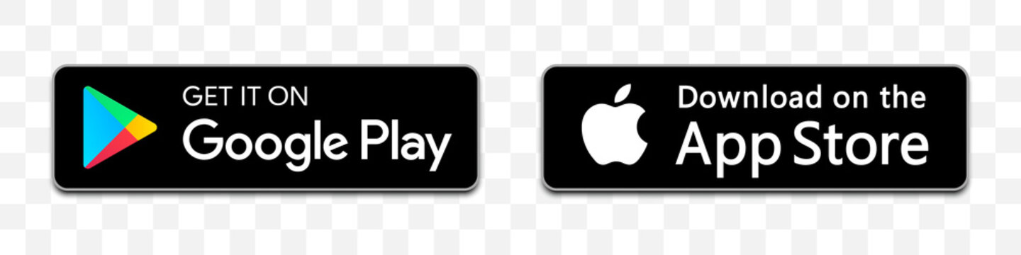 Google play and App store download collection with shadow