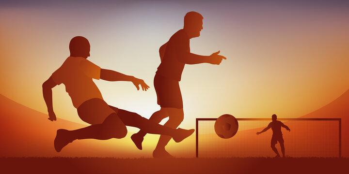 Action de jeu lors d'un match de football avec un défenseur qui tacle le ballon pour dégager son camp et empêcher un adversaire de marquer un but.