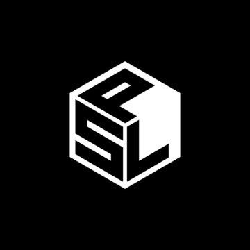 SLP letter logo design with black background in illustrator, cube logo, vector logo, modern alphabet font overlap style. calligraphy designs for logo, Poster, Invitation, etc.