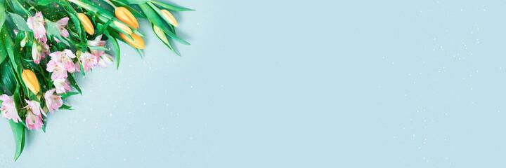 Fototapeta Blue banner with spring flowers, festive composition for spring holidays obraz