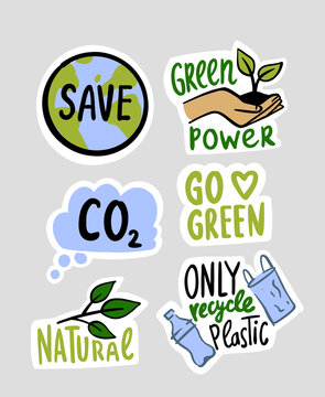 Eco environment stickers. Set emblems with lettering and green phrases