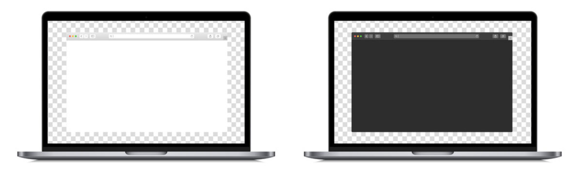 Set of realistic laptop device mockup screen with browser page. Editable laptop computer with search bar. Isolated PC with blank browser display on white background. Vector design.
