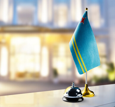 Aruba flag on the reception desk in the lobby of the hotel