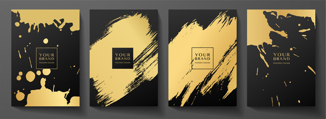 Fototapeta Modern black cover design set. Creative art pattern with gold brush stroke, paint drop (spot) on black background. Luxe artistic vector collection for notebook, flyer, poster, brochure template obraz