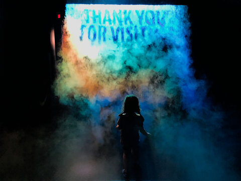 TAMPA, UNITED STATES - May 10, 2019: mystical fog thank you for visting message envelopes girl